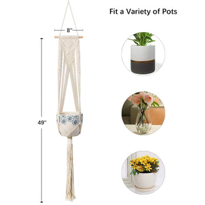 Macrame Handmade Indoor Wall Hanging Planter Size