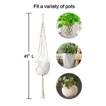 Load image into Gallery viewer, Macrame Plant Hanger Indoor Hanging Planter Beige Size