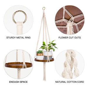 Macrame Plant Hanger With Brown Shelf Details