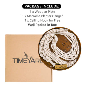 Macrame Plant Hanger With Brown Shelf Package
