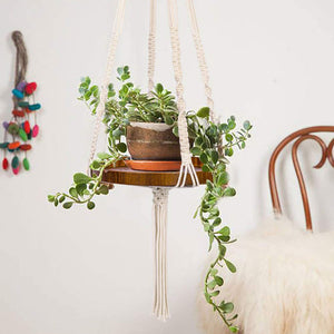 Macrame Plant Hanger With Brown Shelf For Bedroom