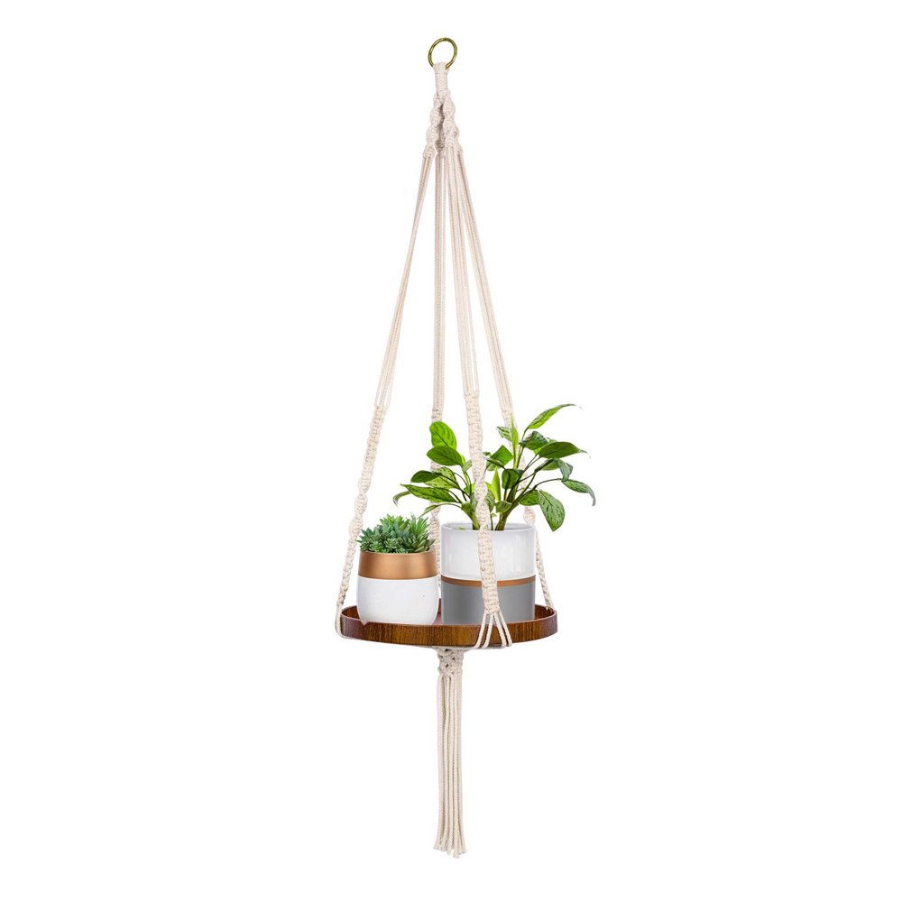 Macrame Plant Hanger With Brown Shelf