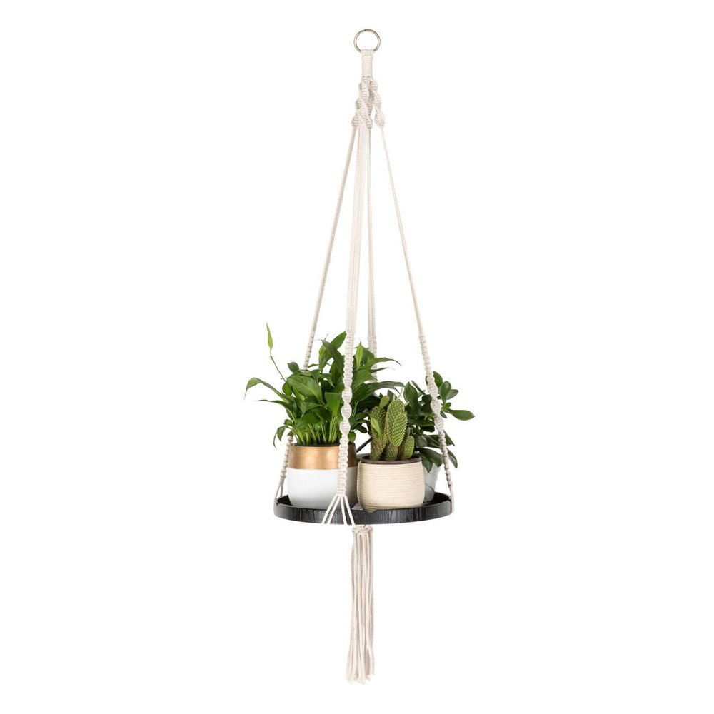 Macrame Plant Hangers With Black Shelf