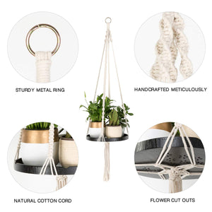 Macrame Plant Hangers With Black Shelf Details