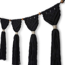 Load image into Gallery viewer, Macrame Wall Hanging Boho Chic Wall Decor Black Details