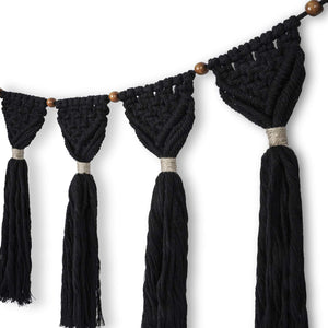 Macrame Wall Hanging Boho Chic Wall Decor Black Details