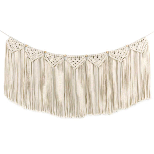 Macrame Wall Hanging Curtain Fringe Garland Banner Beige