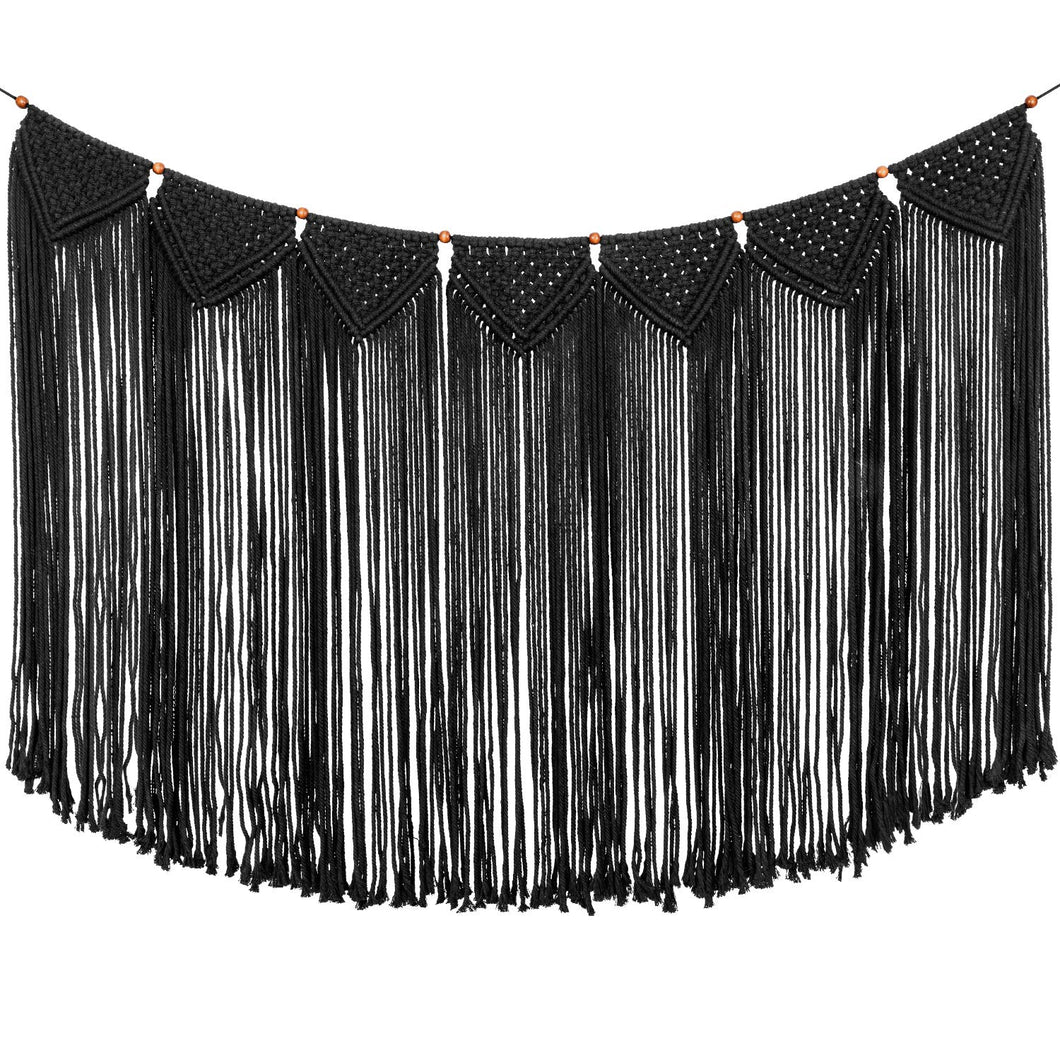 Macrame Wall Hanging Curtain Fringe Garland Banner Black