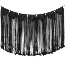 Load image into Gallery viewer, Macrame Wall Hanging Curtain Fringe Garland Banner Black
