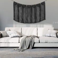 Load image into Gallery viewer, Macrame Wall Hanging Curtain Fringe Garland Banner Black Bedroom