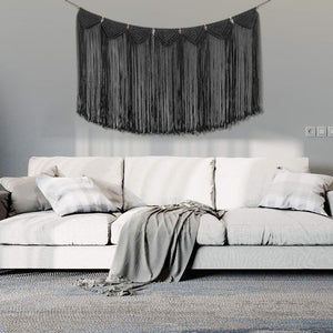 Macrame Wall Hanging Curtain Fringe Garland Banner Balck Bedroom