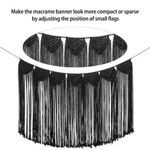 Load image into Gallery viewer, Macrame Wall Hanging Curtain Fringe Garland Banner Black Whole Details