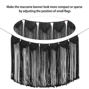 Macrame Wall Hanging Curtain Fringe Garland Banner Black Whole Details
