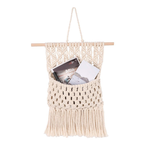 Macrame Wall Hanging Magazine Holder Beige