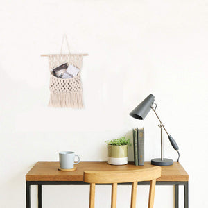 Macrame Wall Hanging Magazine Holder Beige For Bedroom