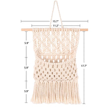 Load image into Gallery viewer, Macrame Wall Hanging Magazine Holder Beige Size