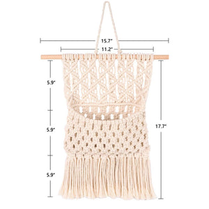 Macrame Wall Hanging Magazine Holder Beige Size