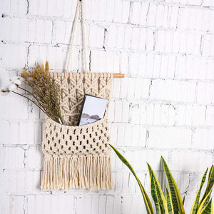 Macrame Wall Hanging Magazine Holder Beige Wall Decor