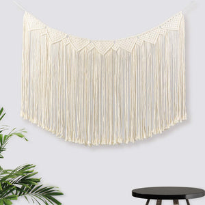 Macrame Wall Hanging Woven Curtain Boho Art Beige Wall Decor