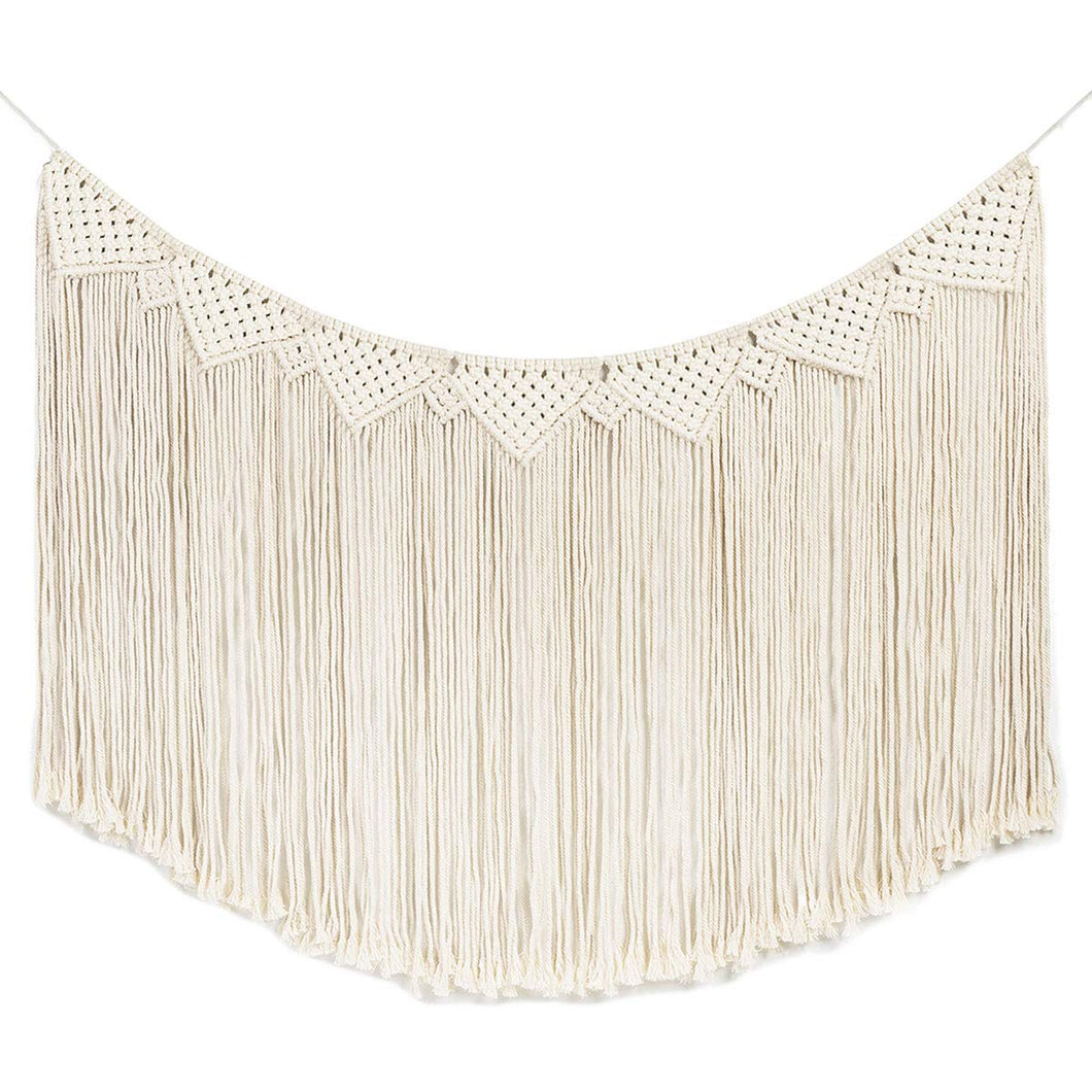 Macrame Wall Hanging Curtain Fringe Garland Banner White