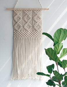 Macrame Wall Hanging Woven Tapestry Wall Decor Beige For Bedroom