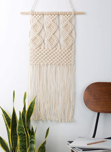 Macrame Wall Hanging Woven Tapestry Wall Decor Beige For Living Room