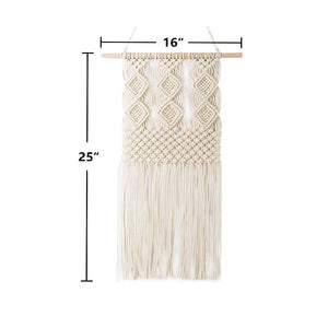 Macrame Wall Hanging Woven Tapestry Wall Decor Beige Size