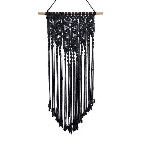 Macrame Woven Tapestry Wall Art Boho Decor Black