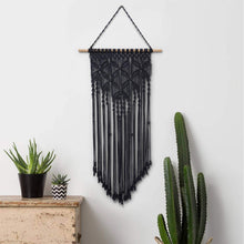 Load image into Gallery viewer, Macrame Woven Tapestry Wall Art Boho Decor Black For Bedroom