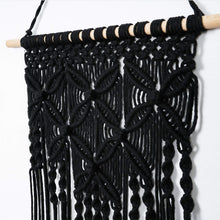 Load image into Gallery viewer, Macrame Woven Tapestry Wall Art Boho Decor Black Details