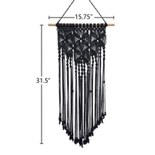 Load image into Gallery viewer, Macrame Woven Tapestry Wall Art Boho Decor Black Size