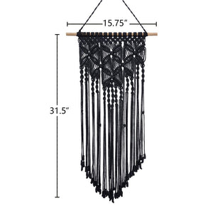 Macrame Woven Tapestry Wall Art Boho Decor Black Size