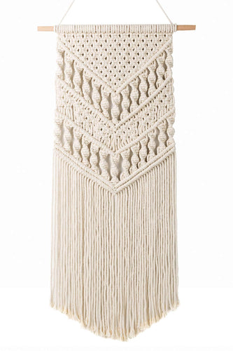 Macrame Woven Wall Hanging Boho Chic Art Decor Beige
