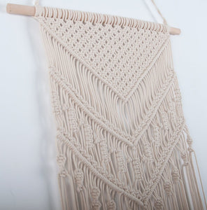 Macrame Woven Wall Hanging Geometric Art Decor Beige Details
