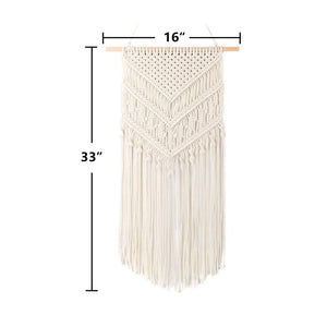 Macrame Woven Wall Hanging Geometric Art Decor Beige Size