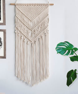 Macrame Woven Wall Hanging Geometric Art Decor Beige For Bedroom