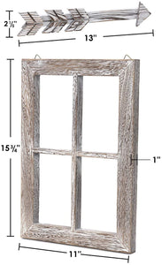 Rustic white window and arrows farmhouse decor  how big it is