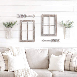 4 PCs Modern Farmhouse Interior Wall Hanging Decor Wood Arrow Window Frame for Bedroom Living Room