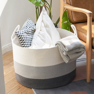XXXL Gray Bathroom Storage Baskets Woven Rope Basket with Handles Clothes Hamper
