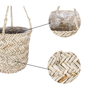 Seagrass Hanging Planter Handmade Indoor Flower Pot Holder Details