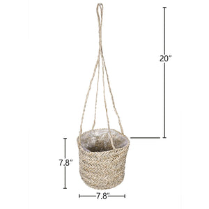 Seagrass Hanging Planter Handmade Indoor Flower Pot Holder Size