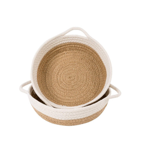 Set of 2 Small Rope Baskets for Fruit Kitchen Desk Storage Bins 9.8 x 8.7 x 2.8 in TImeyard