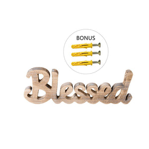 Simply Blessed Wall Sign Wood Signs for Home Bedroom Baby Nursery Decorations with three screws and anchors