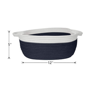 Small Cute Navy Blue Rope Shelf  Basket for Desk Table Storage Bin 12 x 8 x 5 in Timeyard