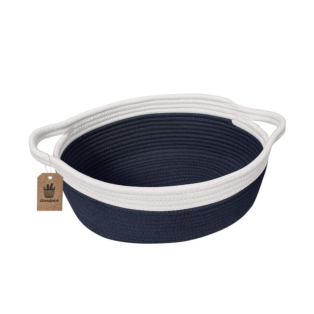 Small Cute Navy Blue Rope Shelf  Basket for Desk Table Storage Bin 12 x 8 x 5 in