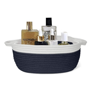 Small Cute Navy Blue Rope Shelf  Basket for Desk Table Storage Bin 12 x 8 x 5 in bathroom storage