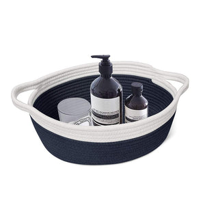 Small Cute Navy Blue Rope Shelf  Basket for Desk Table Storage Bin 12 x 8 x 5 in laundry room
