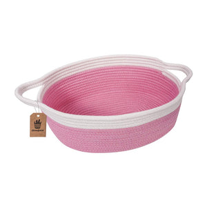 Small Cute Pink Rope Shelf  Basket for Desk Table Storage Bin 12 x 8 x 5 in