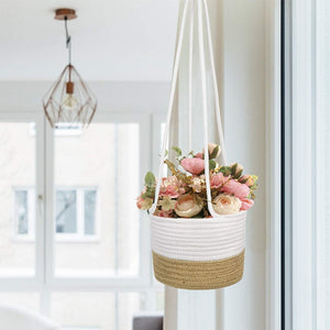 "Cotton & Jute Rope Wall Hanging Planter Up to 8"" Pot Small Woven Plant Basket Balcony Planter"