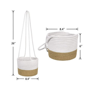 "Cotton & Jute Rope Wall Hanging Planter Up to 8"" Pot Small Woven Plant Basket Product Details"
